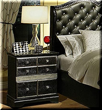 Hollywood Glamour Bedroom Nightstand Displaying Antique Silver Accents, Crocodile Style Drawers, Jewel Knobs. This Beautiful Bedroom Furniture Piece Will Add Luxury And Sparkle To Your Living Space.