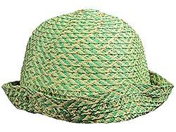 August Accessories Women's Green Splash of Sparkle Cloche Hat, One Size