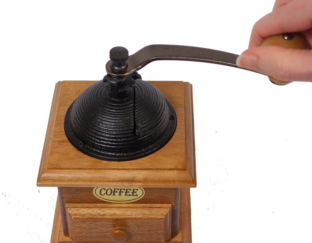 Manual Cast Iron Coffee Bean Grinder with Drawer 3