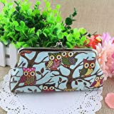 Suppion New Fashion Women Lovely Style Lady Wallet Hasp Owl Purse Clutch Bag (Blue)
