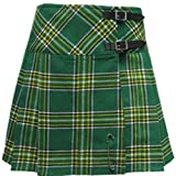 Irish Tartan/Plaid 16.5 Inch Mini Kilt/Minikilt Skirt With Free Pin - Sizes 6-28