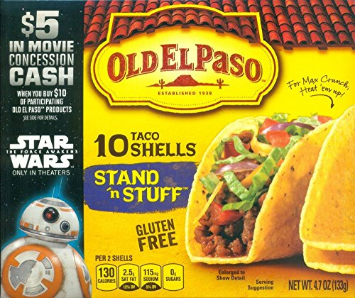 Old El Paso Stand 'n Stuff Taco Shells Gluten Free, 4.7-Ounce Boxes (pack of 3) (Taco Cheese compare prices)