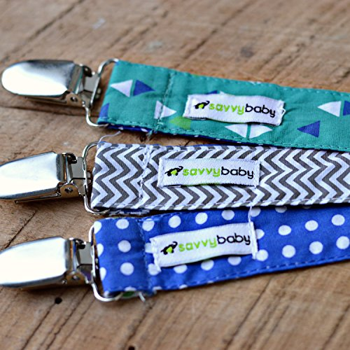 Pacifier Clip – 3 Pack, BOYS – Ziggy Baby 2-Sided Design, Pacifier Holder – Best Boys Pacifier Clip for Teething Ring, Soothie Pacifiers, Pacifers, Baby Bibs – Perfect Baby Shower Gift