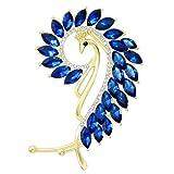 Chic Gold-Tone Cat Eye Stone Peacock Left Side Ear Wrap Cuffs Earrings Non Pierced Earrring Blue (Color: Blue)