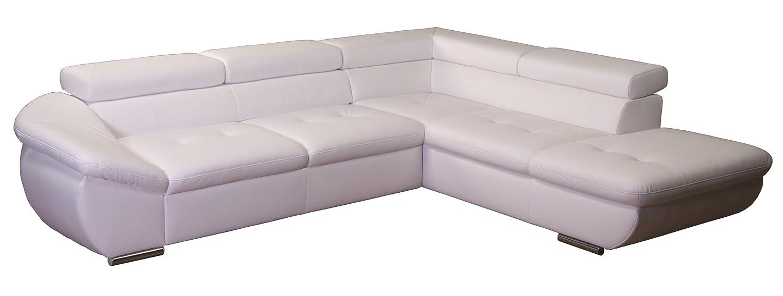 Polsterecke Astra/3er Bett mit Kopfteilverstellung-Ottomane mit Kopfteilverstellung/273×68-84×229 cm/Kunstleder Bison pure white günstig bestellen
