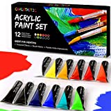 Acrylic Paint Set - Quality Acrylic Paints - Best For Painting Canvas, Wood, Fabric, Clay, Ceramics, Nail Art & Crafts 12 x 12ml tubes of Rich Vibrant Colors - Smooth Consistency & Satin Finish