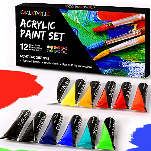 CHALKTASTIC Acrylic Paints - Artist Quality Acrylic Paint Set Best for Painting Wood Canvas Glass Clay Fabric Ceramic - 12 Tubes of Heavy body Consistent Colors for Beginners Students & Artists