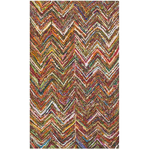 Safavieh Nantucket Collection NAN141B Handmade Blue and Multicolored Cotton Area Rug, 4 feet by 6 feet (4' x 6')