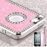 Pandamimi - Deluxe Baby Pink Diamond Rhinestone Glitter Bling Chrome Hard Case Cover for Apple iPhone 5 5G ,Screen Protector and Stylus