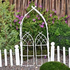 Miniature Fairy Garden Willow Arbor, White