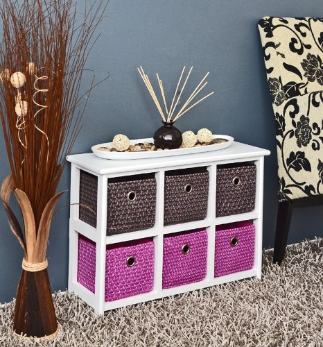 White chest of drawers with 2 x 3 colorful baskets for children's room, office, bath, hall and baby room sideboard 62 x 43 cm