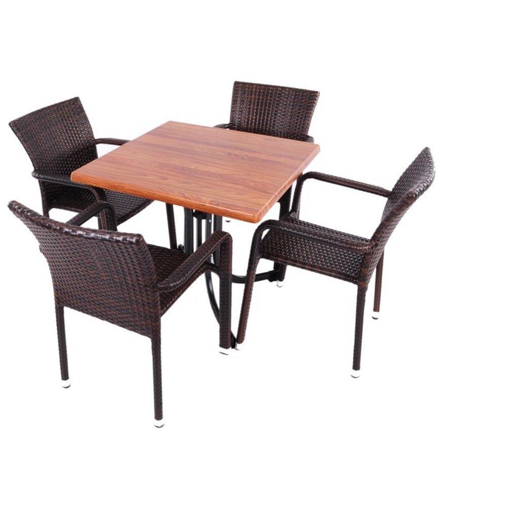 JUSThome Fabio Gartenmöbel Sitzgruppe Gartengarnitur Set 4x Stuhl + 1x Tisch aus Technorattan Braunton günstig kaufen