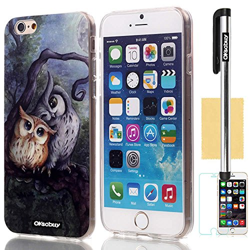 Oksobuy® Apple Iphone 6 (4.7 Inch) Case Soft Smooth Transparent TPU Material with Classic Unique Owl Glitter Shimmering Bling Powder Pattern High Impact Case Cover Skin Protection for Apple Iphone 6(4.7 Inch) with Screen Protector and Stylus (Retro Owl I)