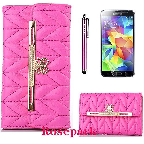 Rosepark(Tm)Fashion Design Deluxe Pu Leather Wallet Case Cover With Card Slots For Samsung Galaxy S5 Sv I9600(Hot Pink) With Screen Protector, Stylus Pen And Cleaning Cloth