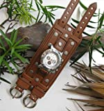 "THE BRIDGER 3"" AGED BROWN LEATHER RIVET WATCHBAND WRISTBAND"