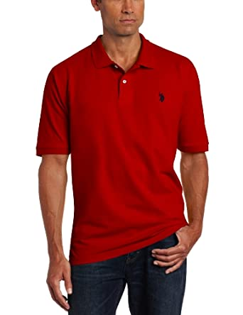 U.S. Polo Assn. Men's Solid Pique Shirt, Engine Red, Medium