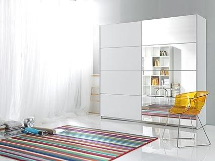 Dreams4Home Schwebeturenschrank 'Antea VI' - Schrank, Kleiderschrank, Schiebeturen, Spiegel, 5 Einlegeböden, 1 Kleiderstange, Aufbewahrung, Schlafzimmer, 3 Größen, B/H/T:180x210x60cm, B/H/T:200x210x60cm, B/H/T:220x210x60cm, in weiß,