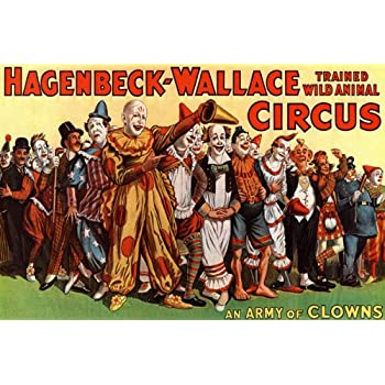 AN ARMY OF CLOWNS HAGENBECK WALLACE CIRCUS CHILDREN LARGE VINTAGE POSTER REPRO