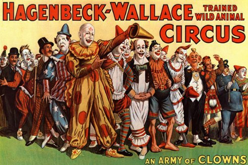 AN ARMY OF CLOWNS HAGENBECK WALLACE CIRCUS CHILDREN LARGE VINTAGE POSTER REPRO 0