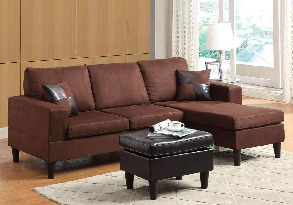 1PerfectChoice Robyn Modern Small Living Room Reversible Chaise Sectional Chocolate Microfiber