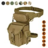Military Tactical Drop Leg Bag Tool Fanny Thigh Pack Leg Rig Utility Pouch Paintball Airsoft Motorcycle Riding Thermite Versipack, Tan (Color: Tan)