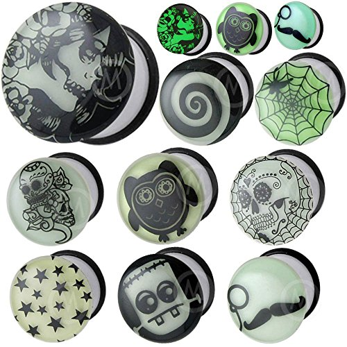 0 gauges 0g ear plugs Glow in the dark flesh tunnels double flare expander stretcher taper MoDTanOiz 8mm (Glow In The Dark 0 Gauge Plugs compare prices)