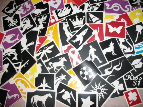 100 Adhesive Stencils, No Duplicates for Face Painting and Glitter Tattoos!