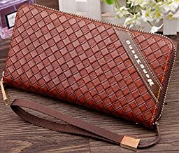 Damast Lattice Leather Purse Long Organizer Wallet with Wrist Strap Clutch Wristlet (Coffee Shallow)