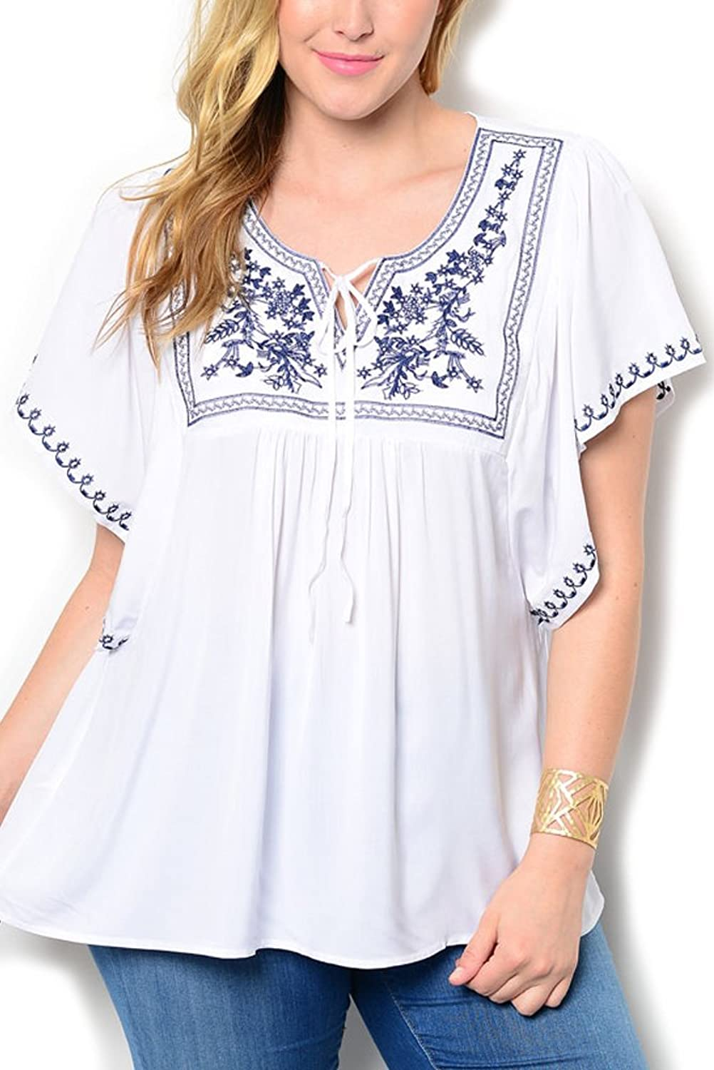 DHStyles Women's Plus Size Boho Chic Embroidered Flowy Top брошь boho chic брошь