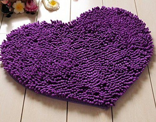 Red Heart Love microfiber chenille Soft Fluffy Rug Bathroom Bedroom Carpet Mat (purple) (rose) (coffee)