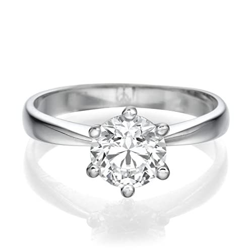 Solitaire Engagement Ring 0.40 CT Round Cut Ladies H-I/I1-I2 14ct White Gold