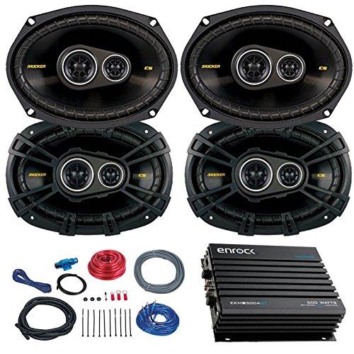 Car Speaker Set With Amplifier - 4 Kicker CS6934 6x9 Inch 900 Watt 4-Ohm 3-Way Car Audio Coaxial Speaker + Enrock EKMB500ABT 400W 4-Chan Bluetooth Car/Marine Amplifier + Boss KIT2 Amp Installation Kit (6x9 Car Speakers 900 W compare prices)