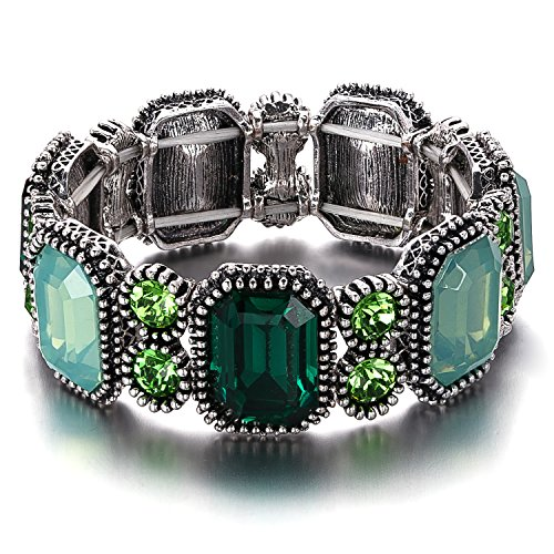 [Menton Ezil Women Green Rhinestone Stretch Bangle Bracelet for Women Party] (Labor Day Parade Costumes For Sale)