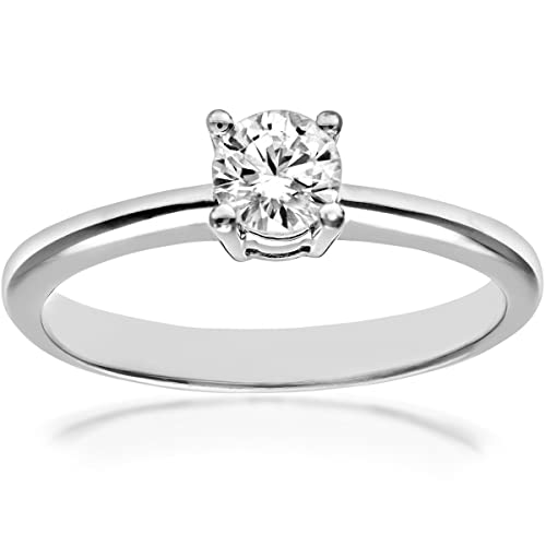 Naava 18ct White Gold 4 Claw Engagement Ring, F/SI3 EGL Certified Diamond, Round Brilliant, 0.28ct