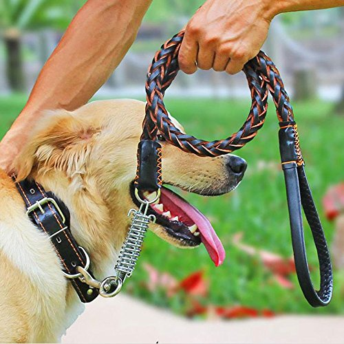 Leather Dog Leash,Comsun Braided Pet Training Leather Lead Belt 4.3ft Long 0.8 Inch Wide for Medium Large Dogs Up To 220lbs With Buffer Spring Black (Diy Dog Harness compare prices)
