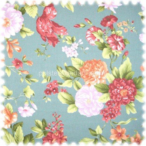 Englische Polstermöbel Landhausstil ~ Möbelstoff Flora Eden Rose Blaugrau in Englisch Leinen Optik