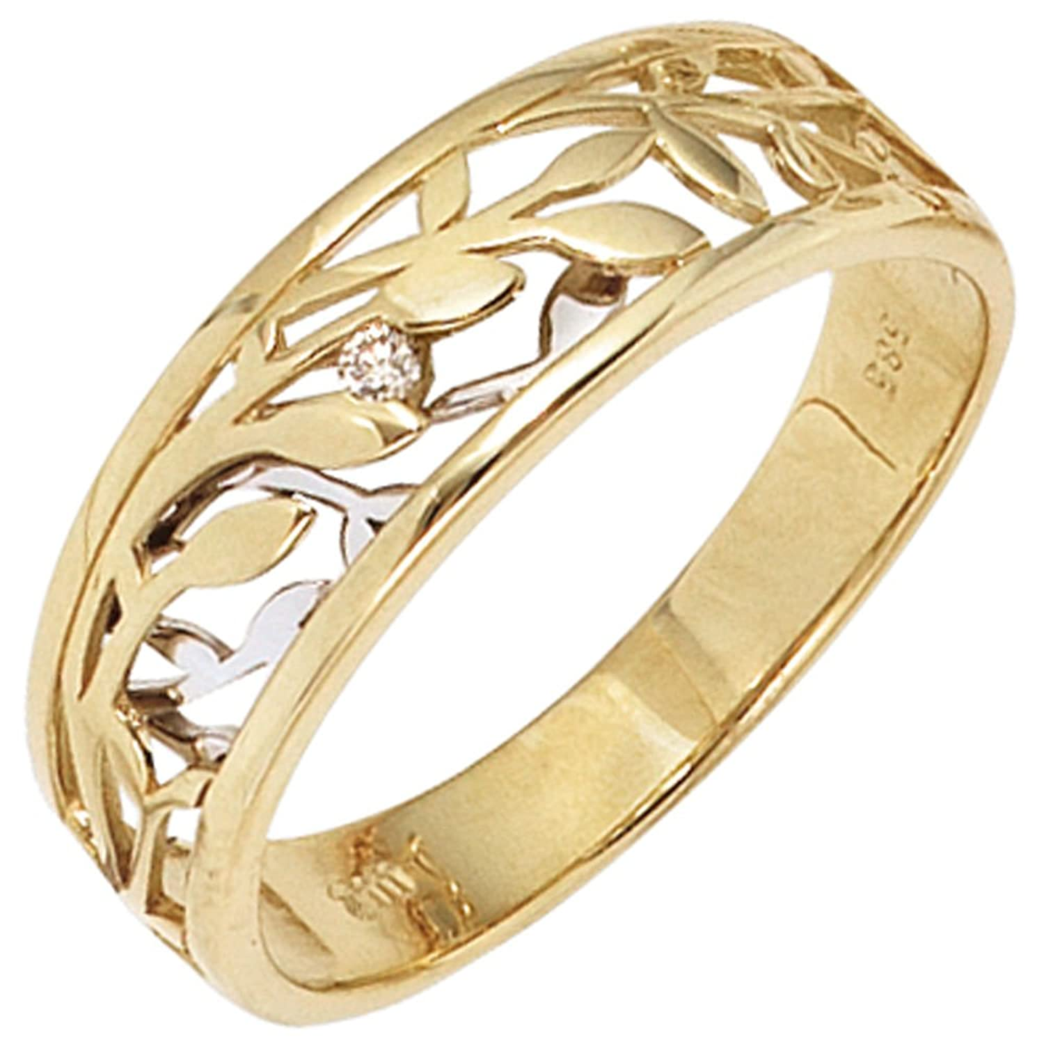 Damen Ring 585 Gold Gelbgold Weißgold bicolor 1 Diamant Brillant 0,02ct. bestellen