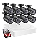 ZOSI 5MP Security Camera System,8 Channel 1920p CCTV DVR Reorder(2TB HDD Built-in) W/8x HD 5MP(2592 x 1920) Outdoor/Indoor Day Night Vision Surveillance Camera-Remote Access,Motion Detection (Color: 8CH+8Cams+2TB(5MP))