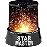Onegood Colorful Gift Romantic Cosmos Sky Star Master Projector Lamp Starry LED Night Light Bed Light with a USB Cable for Christmas (Black)