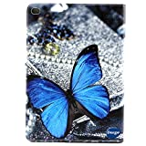 iPad Air 2 Case, iPad 6 Cover, Ultra Thin Fashion Design PU Leather Flip Stand Case, Scratch-Resistant Full Body Protective Covers Perfect Fit for Apple iPad Air 2 (iPad 6) (Blue Butterfly)