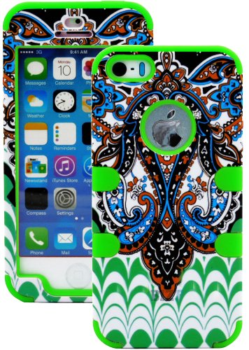 Mylife (Tm) Bright Green - Retro Paisley Series (Neo Hypergrip Flex Gel) 3 Piece Case For Iphone 5/5S (5G) 5Th Generation Itouch Smartphone By Apple (External 2 Piece Fitted On Hard Rubberized Plates + Internal Soft Silicone Easy Grip Bumper Gel + Lifetim