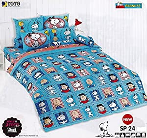 SNOOPY PEANUTS Bed Fitted Sheet set (King, SP24); 4 Pieces Set : 1 Bed Fitted Sheet, 2 Standard Pillow Case and 1 Standard Bolster Case