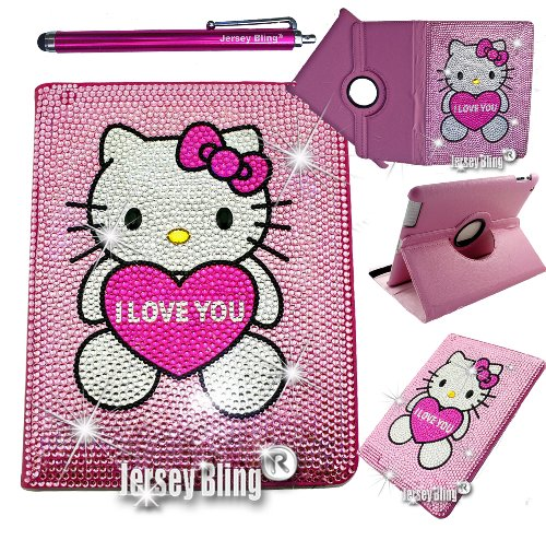 Bling Kitty Ipad 2/3/4 Pink Leather Folio Case Jersey Bling® With Free Stylus (Ipad 2/3/4, Pink Love You)