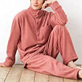 パジャマ屋 暖かい 冬用 フリース パジャマ メンズ 兼 レディース 開く タートルネック 両面起毛/マルサラワイン・Lサイズ