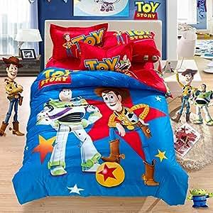 Toy story 100 coton naturel parure de lit motif lit de sh rif woody buzz l 39 clair mr patate - Parure de lit buzz l eclair ...