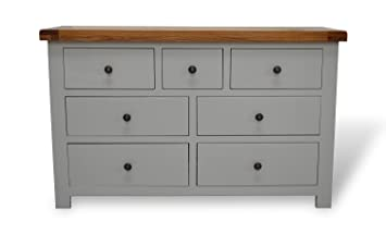 Bishop Painted Oak Large Chest Of Drawers Painted Hardwood 3 Over 4 Drawer Solid Chest With Dovetail Joints
