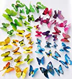 O4U 48pcs 4 Colours 3D Butterfly with Magnet and Sponge Sticky Wall Stickers Murals Removable DIY Butterflies for Bedroom Living Room Classroom Refrigerator Decorations