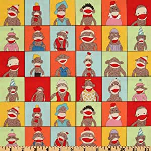 Moda Funky Monkey Friends Blocks Multi Fabric