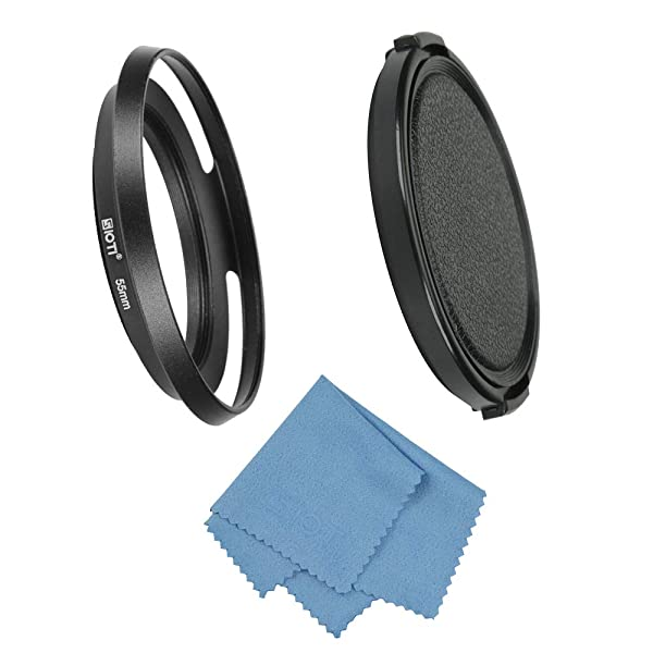 SIOTI Filmy Wide Angle Vented Metal Lens Hood with Cleaning Cloth and Lens Cap Compatible with Leica/Fuji/Nikon/Canon/Samsung Standard Thread Lens (Color: Wide Angle Vented, Tamaño: 55mm)