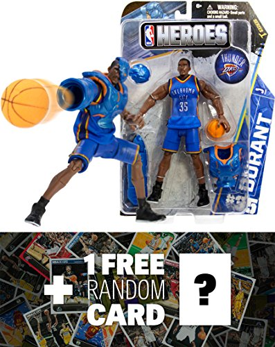 Kevin Durant - Oklahoma City Thunder #35: NBA Heroes Action Figure Series + 1 FREE Official NBA Trading Card Bundle